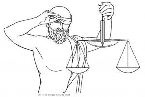 Justitius und die Waage der Gerechtigkeit
